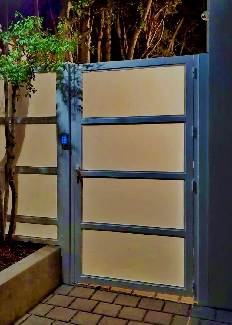 """The Twilight"" Glass & Aluminum Walkway Gate by Mulholland Gates"