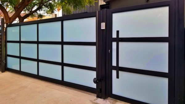 Aluminum and Glass Residential Gate by Mulholland Gates